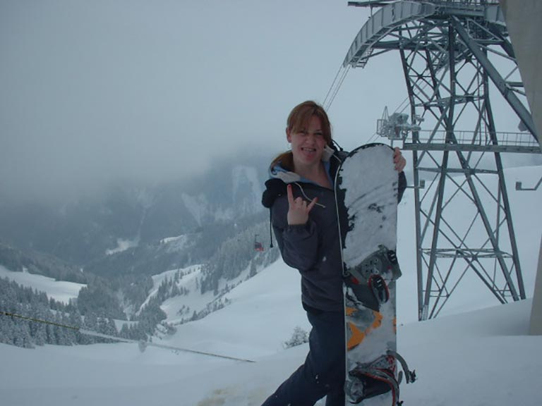 Snowsports photographer Melanie May on the slopes in Kirchberg Austria