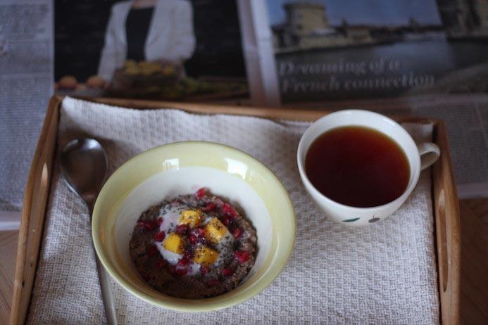Quinoa porridge recipe served with tea