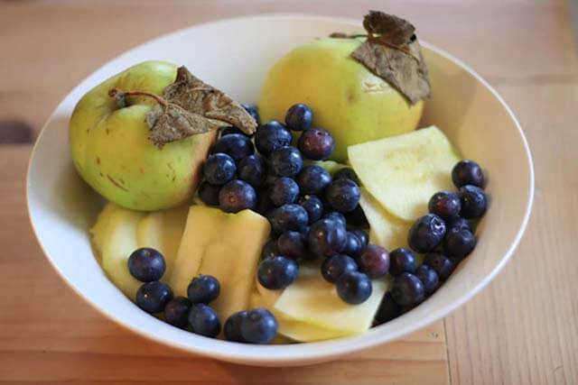 Blueberry Apple Crumble Recipe fruit prep