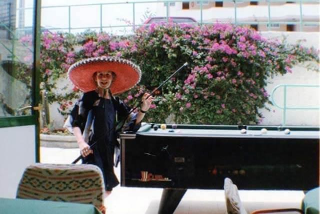 Melanie May wearing a sombrero