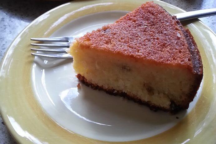 Slice of lemon yoghurt cake recipe