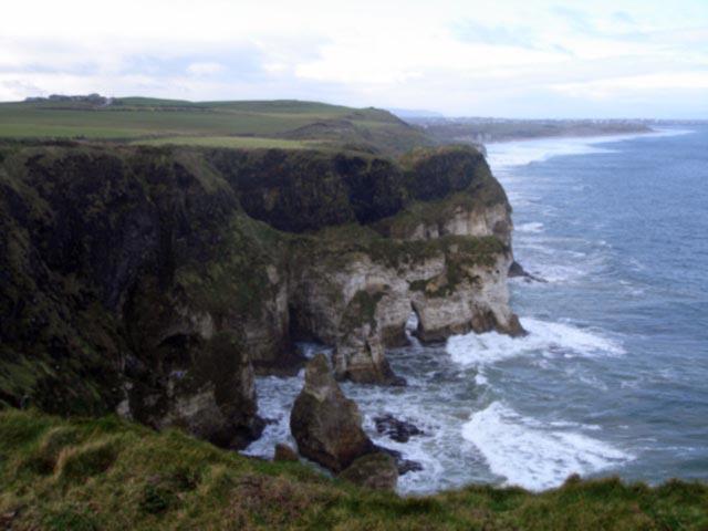 The wild coastline of Co. Antrim in Ireland