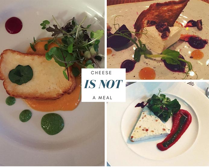 A collage of photos showing plates of cheese. A plate of cheese is not a meal.