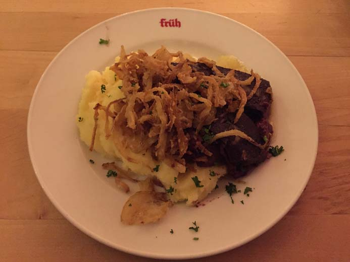 Cologne City Guide things to eat tradition food in Fruh Brauhaus Heaven and Earth