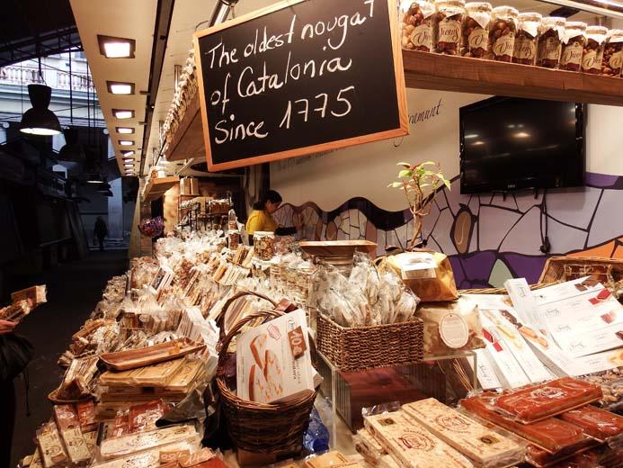 La Boqueria Food Market in Barcelona Spanish nougat stall