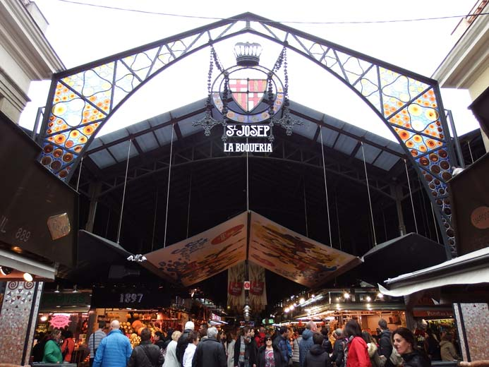 La Boqueria Food Market in Barcelona entrance