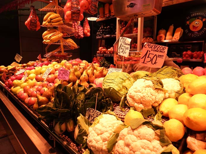 La Boqueria Food Market in Barcelona vegetable stall