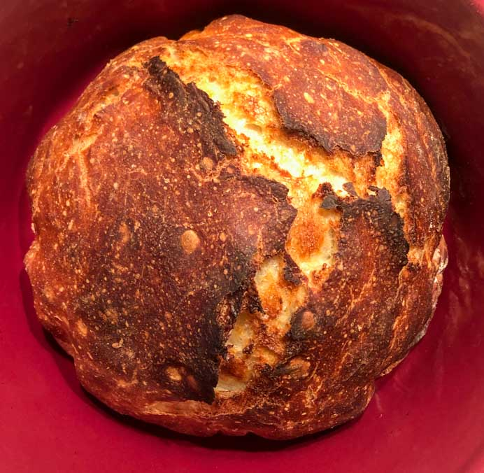 No-knead bread recipe cooked in a Dutch oven.