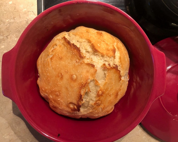No-knead bread recipe cooked in a Dutch oven.