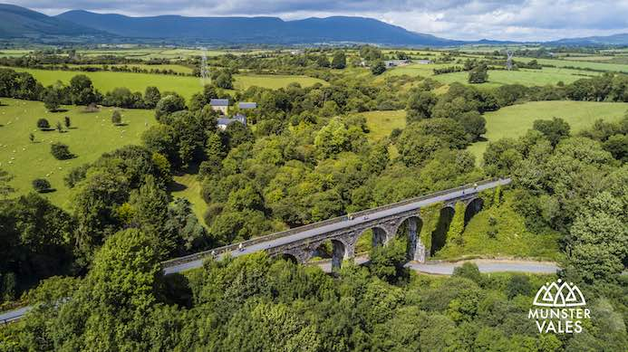 Munster Vales Ireland Travel Guide. Aerial photograph of Munster Vales and the Greenway cycle route.