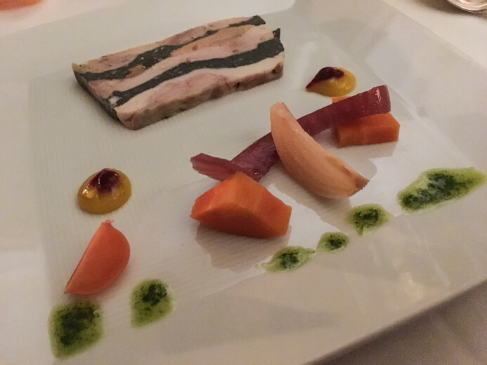 Longueville House Restaurant review - the Valentine's Night starter of starter foie gras and pickled vegetables