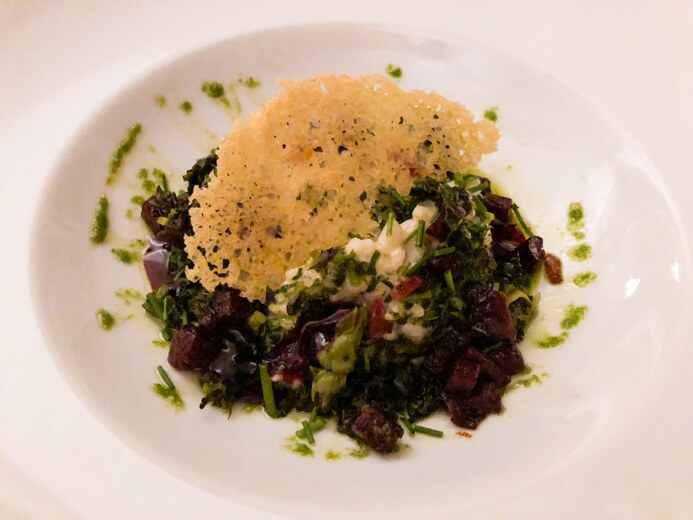 Longueville House Restaurant review - the Valentine's Night main course of creamy beetroot risotto with herbs, spinach and homemade pesto