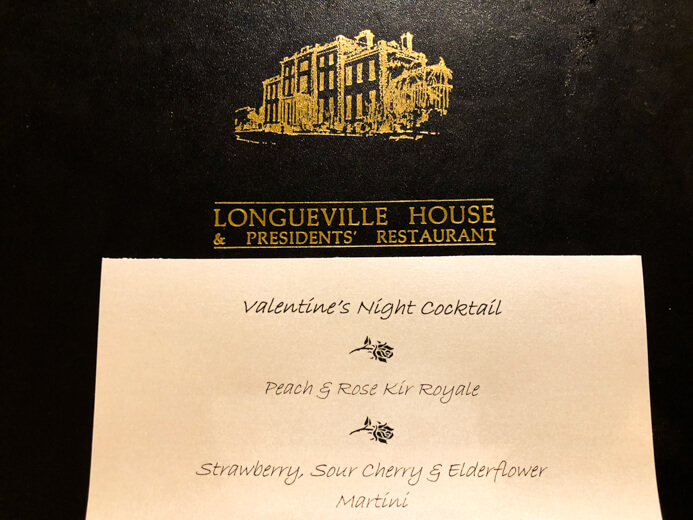 Longueville House Restaurant review - the Valentine's Night cocktails