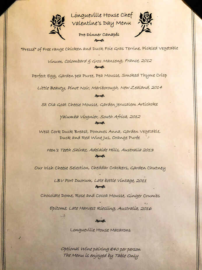 Longueville House Restaurant review - the seven course Valentine's Night menu and wine pairings.
