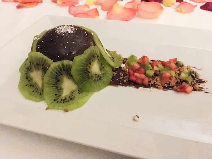 Longueville House Restaurant review - the Valentine's Night dessert of chocolate mousse with rose and cocoa and ginger crumb and kiwi.