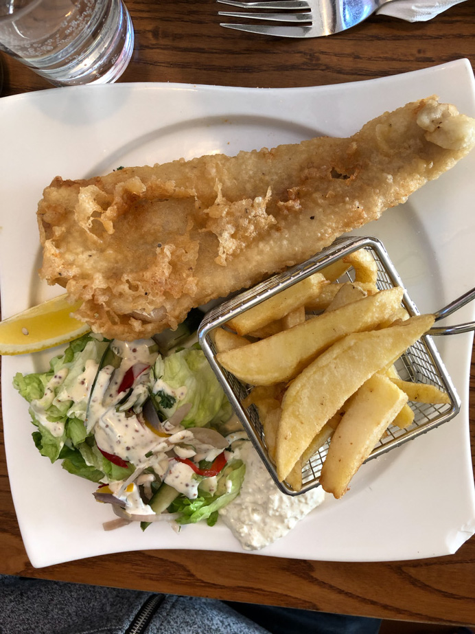 Things to do in Cahir Tipperary Ireland. Photo of fish and chips in the River Cafe.