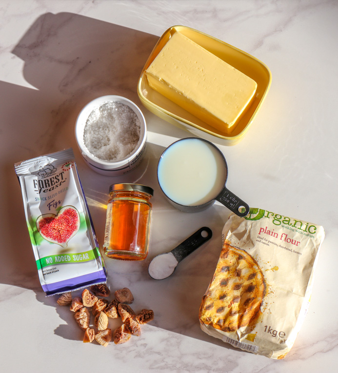Ingredients to bake classic scones with this easy scones recipe, perfect for everyday baking and occasions