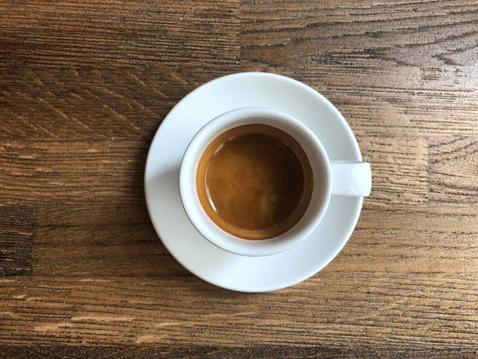 Sole Seafood and Grill Dublin Restaurant review by Melanie May. A cup of espresso.
