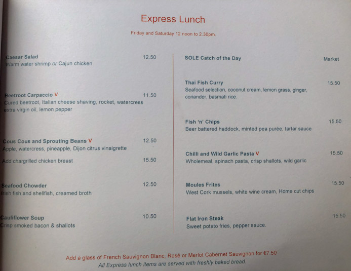 Sole Seafood and Grill Dublin Restaurant review by Melanie May. The express lunch menu.