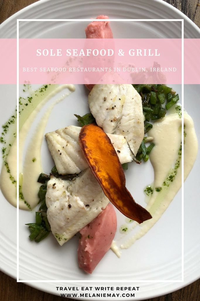 Sole Seafood and Grill Dublin Restaurant review by Melanie May. Pinterest graphic of a plate of seafood.