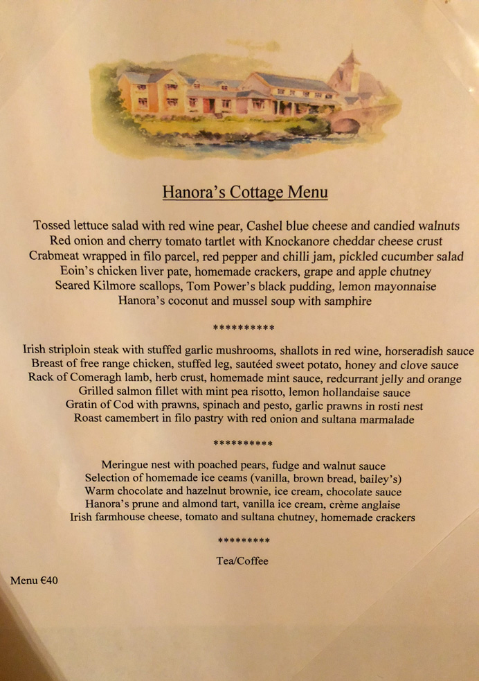 Hanora's Cottage Country House and Restaurant review. The dinner.