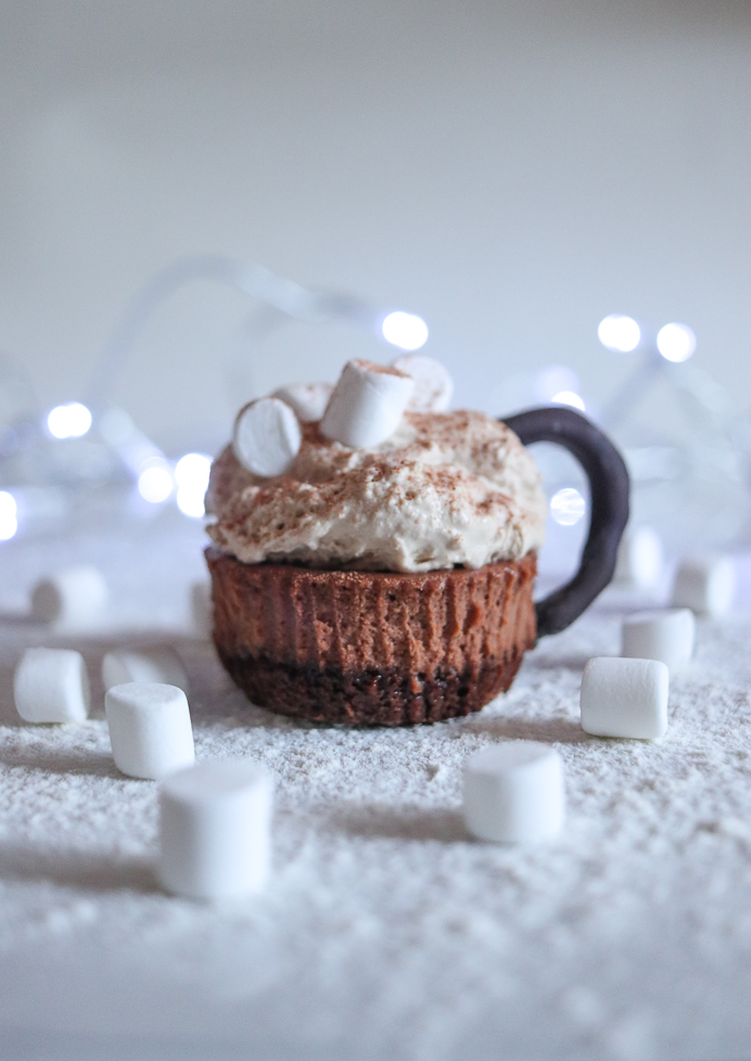 Hot chocolate mini cheesecake recipe. These cheesecake bites look like cups of hot chocolate topped with mini marshmallows and dusted with chocolate power.