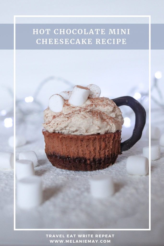 Hot chocolate mini cheesecake recipe. These cheesecake bites look like cups of hot chocolate topped with marshmallows and dusted with chocolate power.
