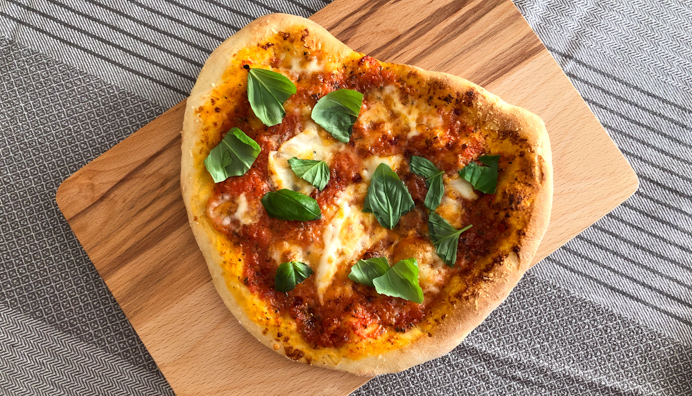 Best Homemade Pizza Recipe with fresh basil.