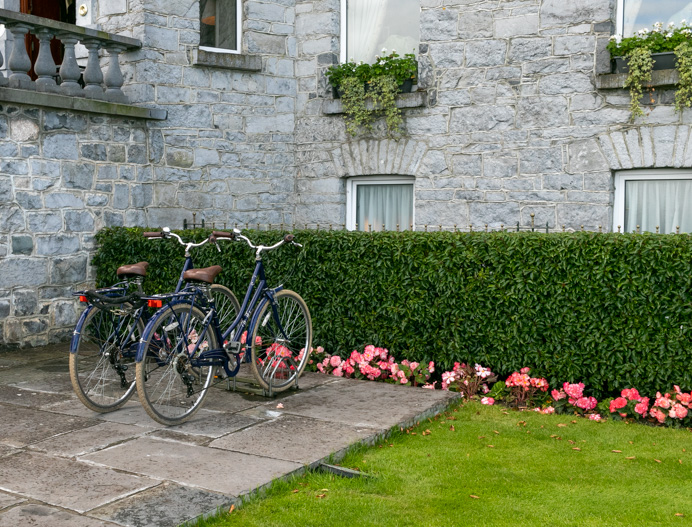 Two bicycles outside the Glenlo Abbey Hotel