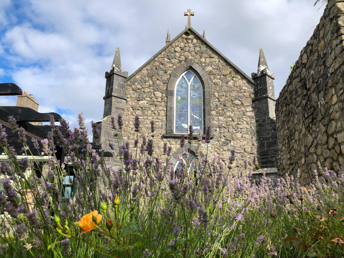 Glenlo Abbey with flowers