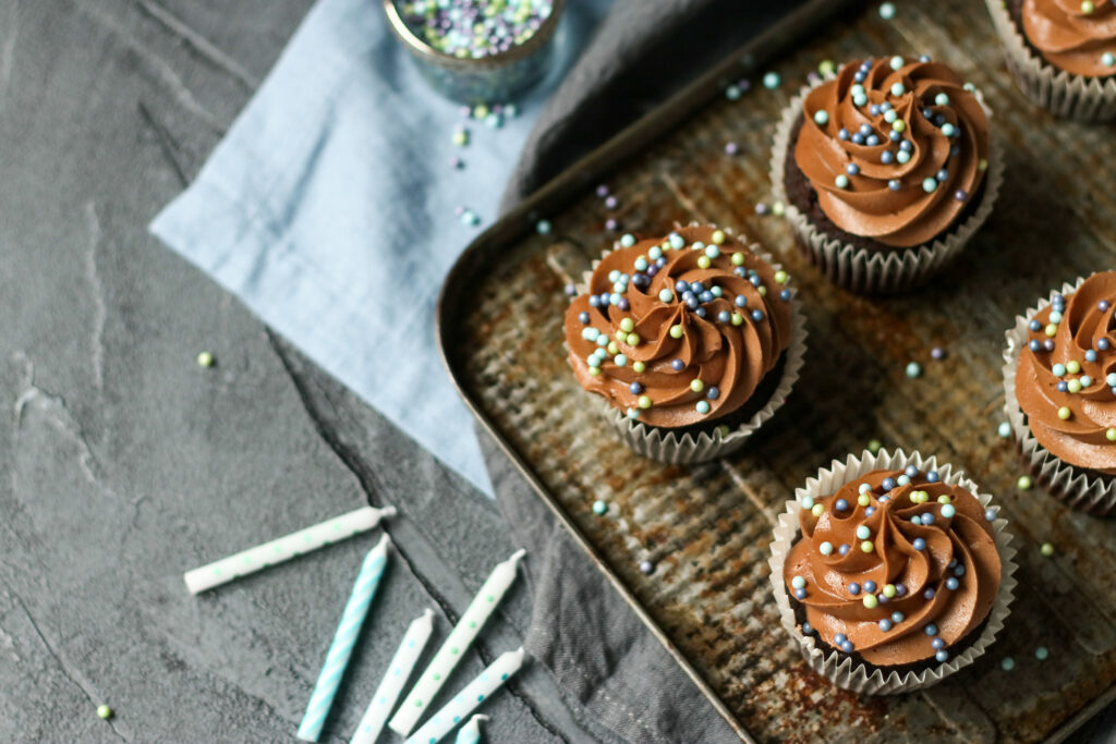 Food photography and styling Chocolate Cupcakes
