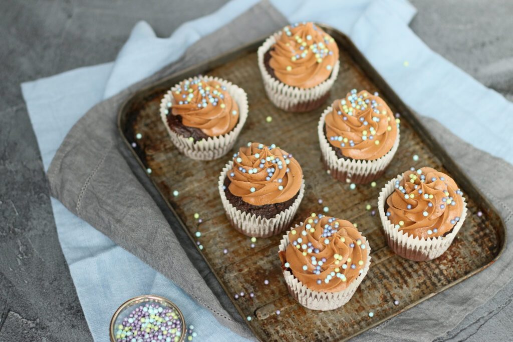 Food photography and styling Frosted chocolate cupcakes