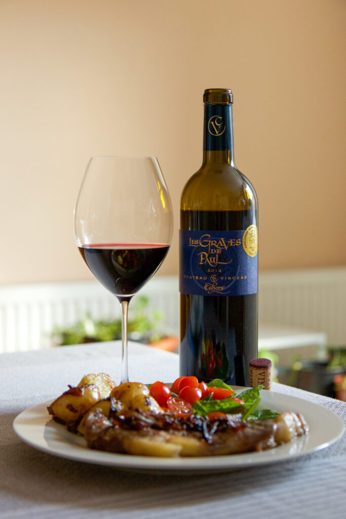 Food photography and styling Red wine and steak