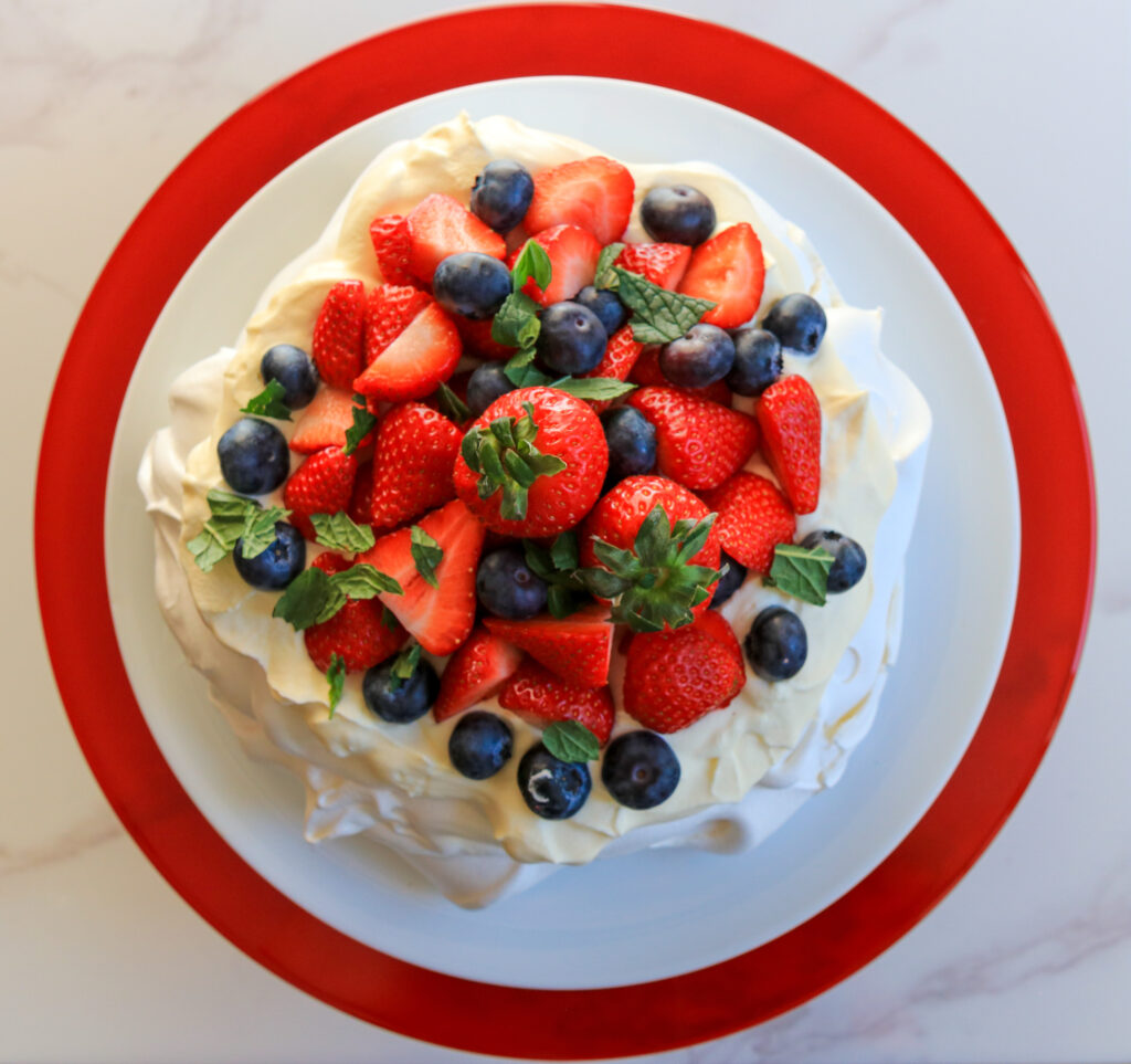 Food photography and styling Summer berry pavlova
